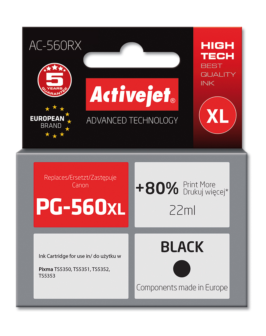 Tusz Activejet AC-560RX do drukarki Canon, Zamiennik Canon PG-560XL;  Premium;  22 ml;  czarny. Drukuje więcej o 80%