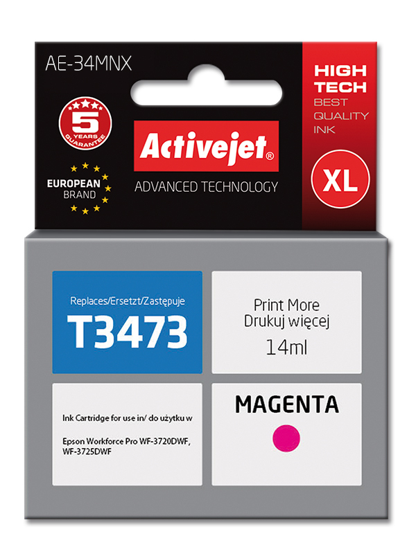 Tusz Activejet AE-34MNX do drukarki Epson, Zamiennik Epson 34XL T3473;  Supreme;  14 ml;  purpurowy.