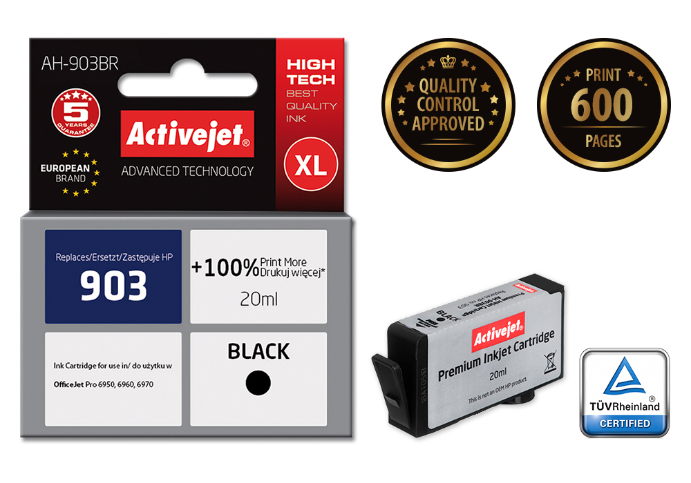 Tusz Activejet AH-903BR do drukarki HP, Zamiennik HP 903 T6L99AE;  Premium;  20 ml;  czarny.