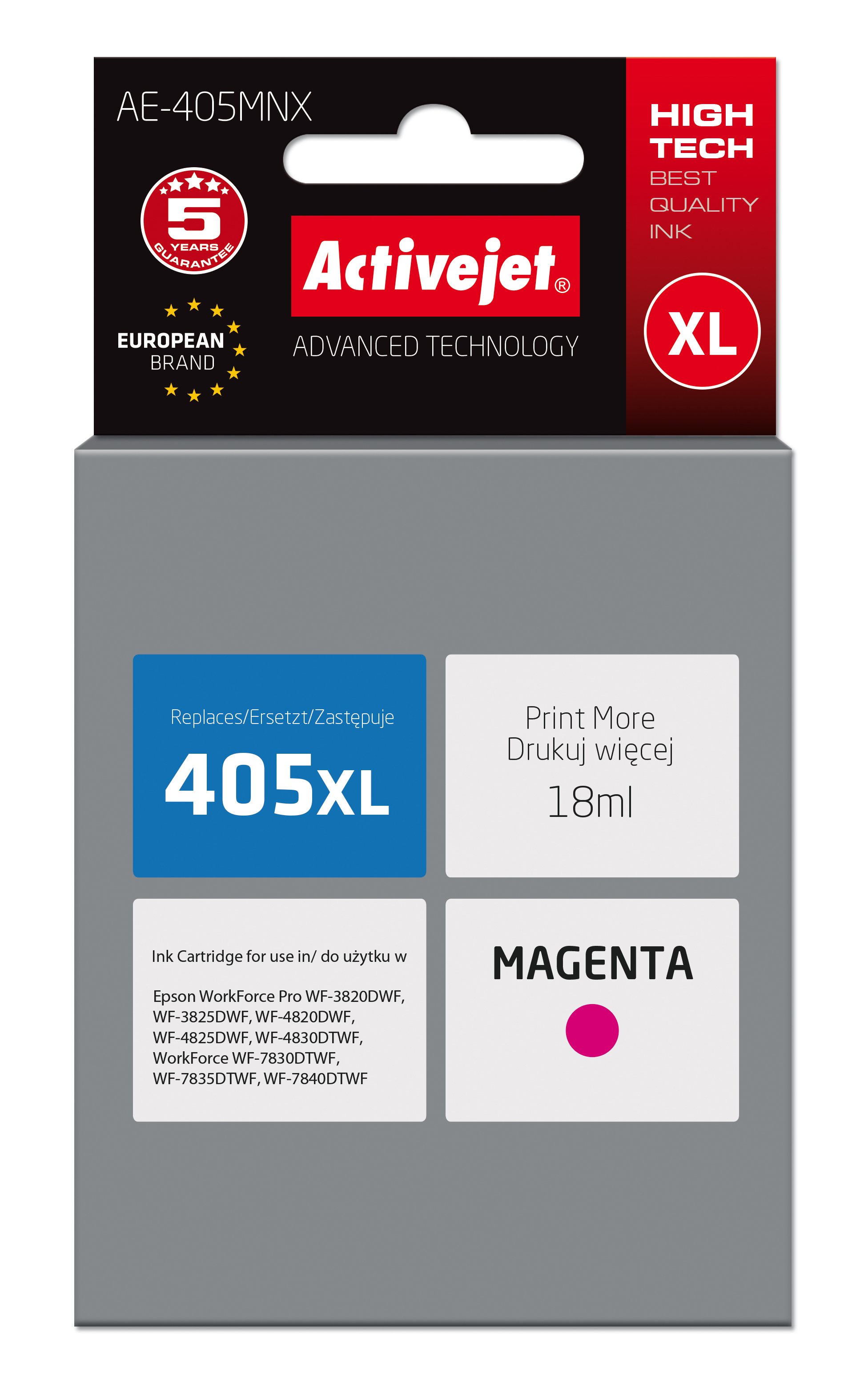 Tusz Activejet AE-405MNX do drukarki Epson, Zamiennik Epson 405XL C13T05H34010;  Supreme; 18 ml; purpurowy.