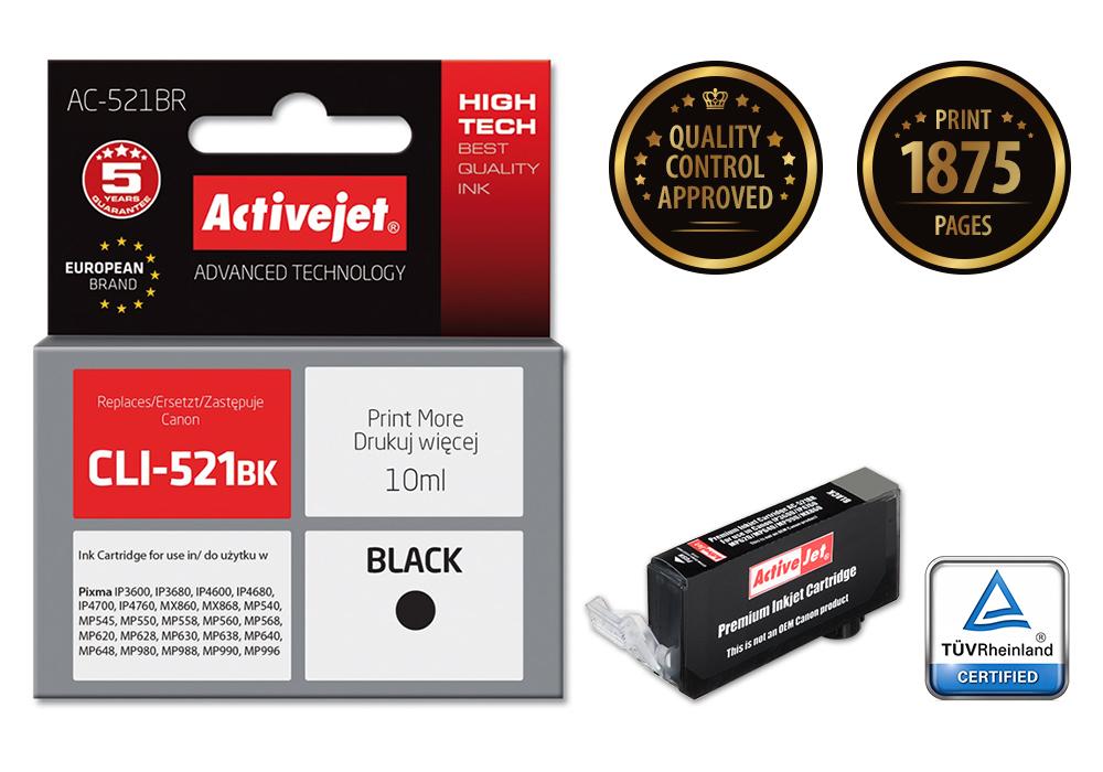 ActiveJet AC-521BR (ACR-521Bk) tusz czarny do drukarki Canon (zamiennik Canon CLI-521Bk) (chip)