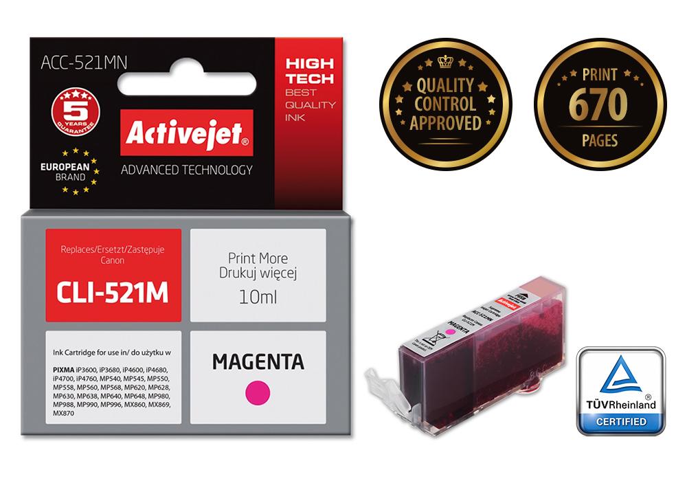 Tusz Activejet ACC-521MN do drukarki Canon, Zamiennik Canon CLI-521M;  Supreme;  10 ml;  purpurowy.