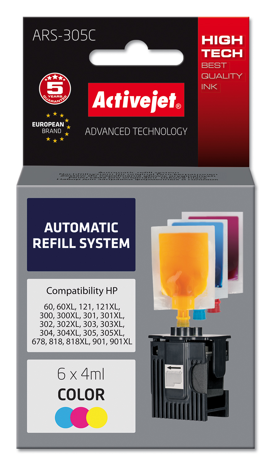 System uzupełnień Activejet ARS-305Col (zamiennik HP301, HP302, HP303, HP304, HP304 ; 6 x 4 ml; kolor)