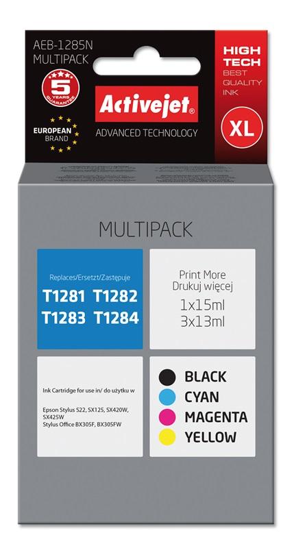 Tusz Activejet AEB-1285N do drukarki Epson, Zamiennik Epson T1281, T1282, T1283, T1284;  Supreme;  1 x 15 ml, 3 x 13 ml;  czarny, purpurowy, błękitny, żółty.