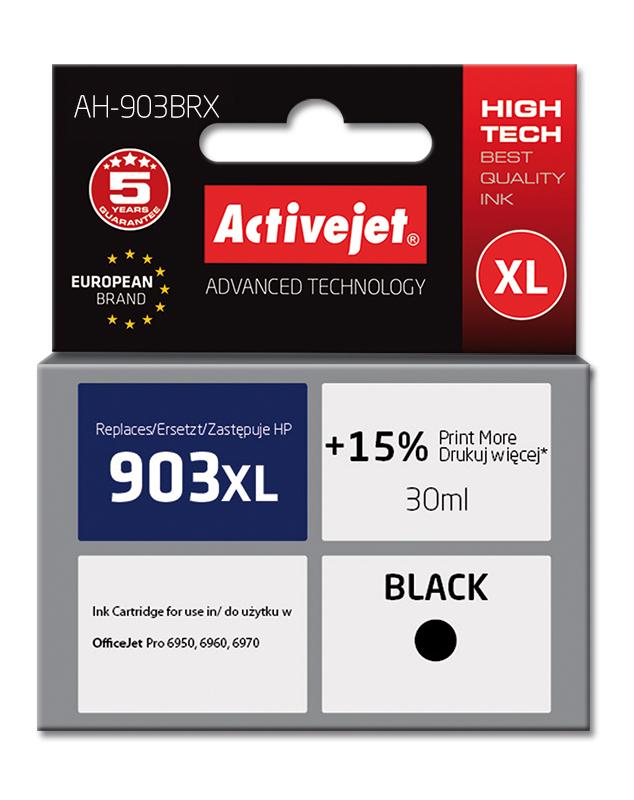Tusz Activejet AH-903BRX do drukarki HP, Zamiennik HP 903XL T6M15AE;  Premium;  30 ml;  czarny. Drukuje więcej o 15%.