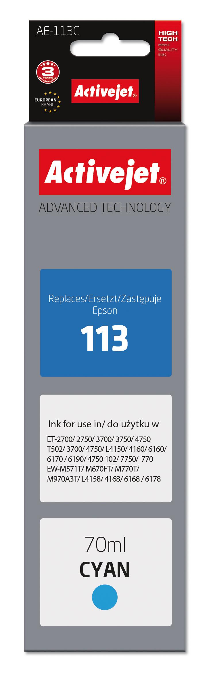 Tusz Activejet AE-113C do drukarki Epson, Zamiennik Epson 113 C13T06B240;  Supreme; 70 ml; błekitny.