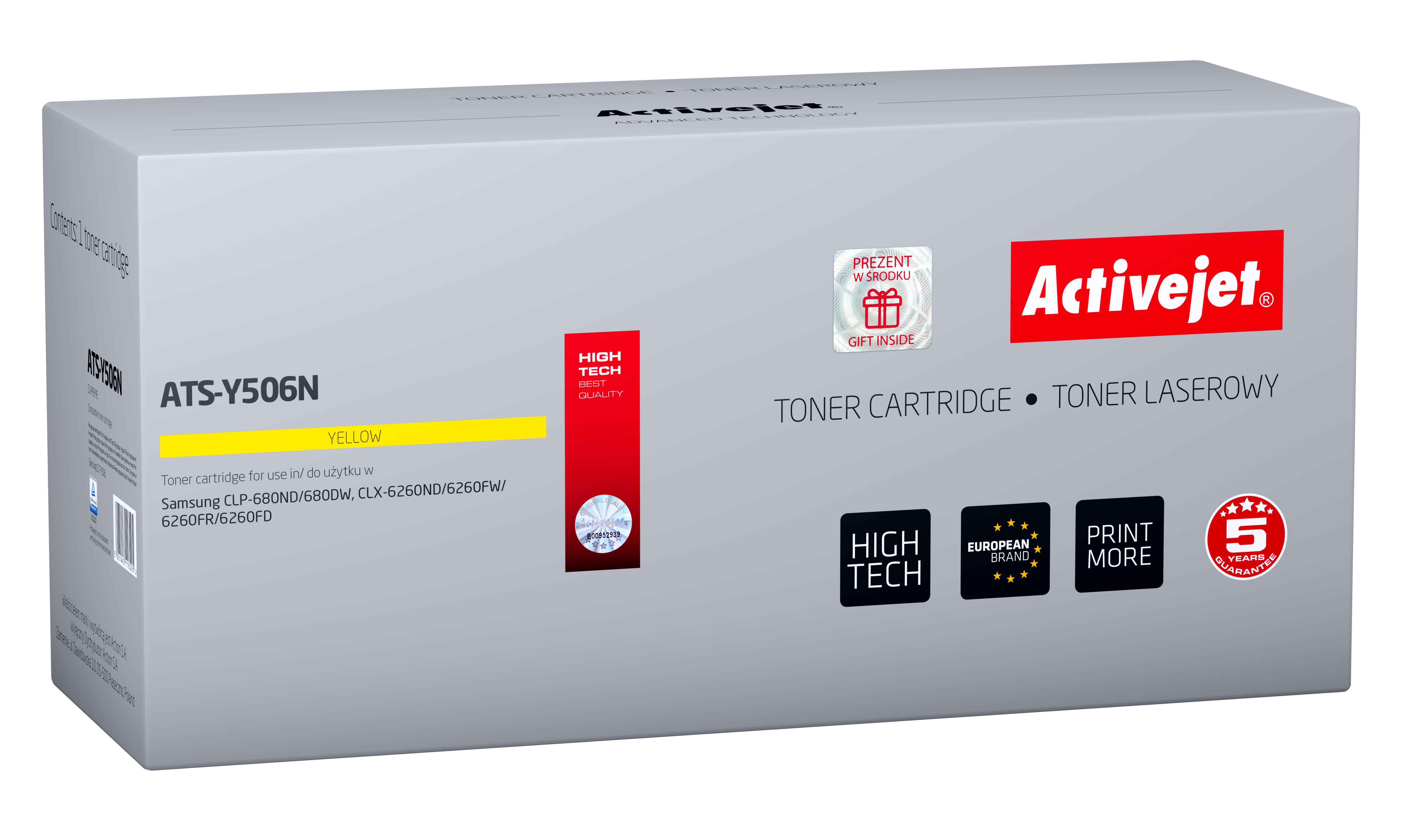 Toner Activejet ATS-Y506N do drukarki Samsung; zamiennik CLT-Y506L; Supreme; 3500 stron; żółty.