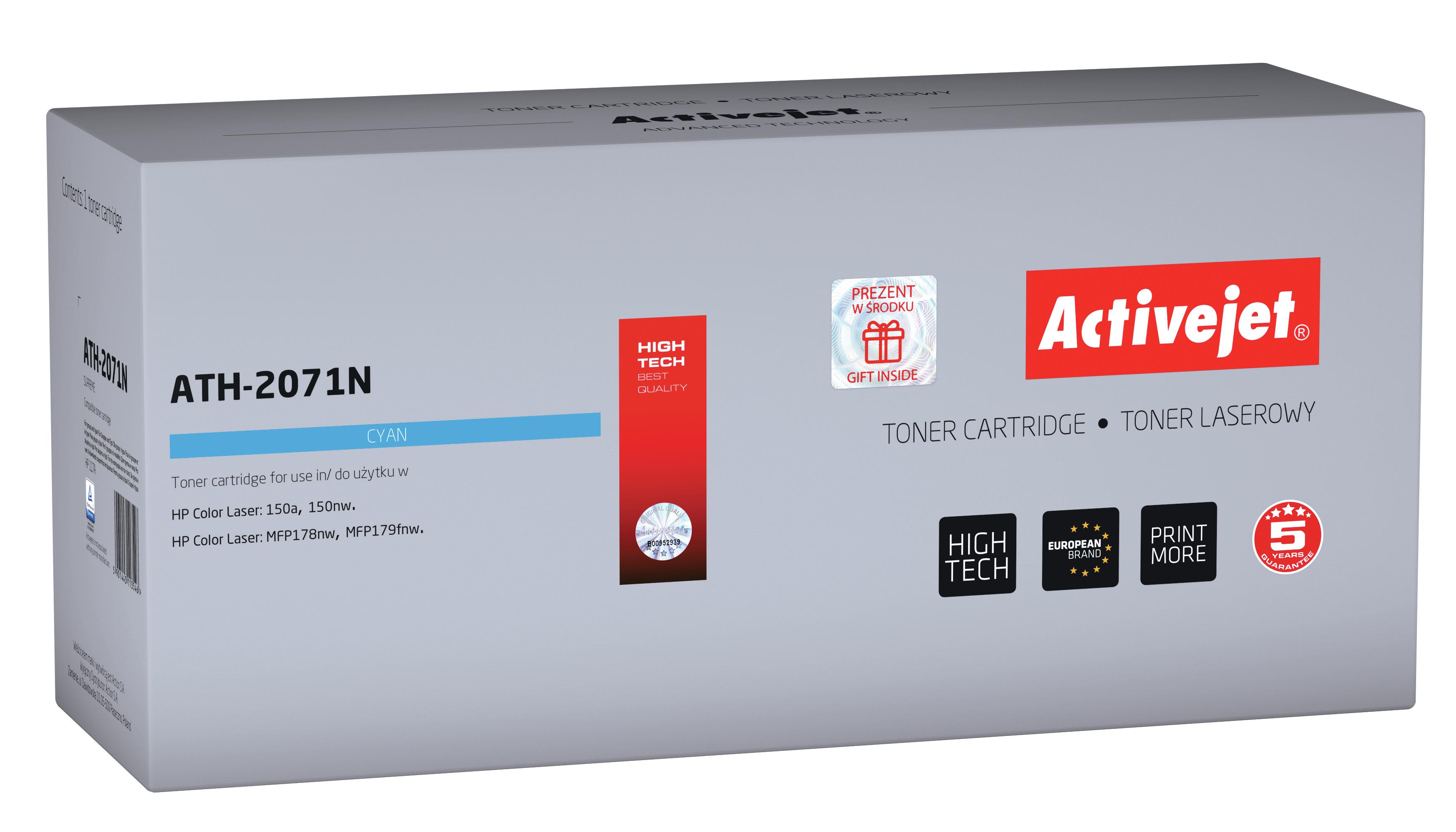 Toner Activejet ATH-2071N do drukarek HP, Zamiennik HP 117A 2071A; supreme; 700 stron; błękitny.