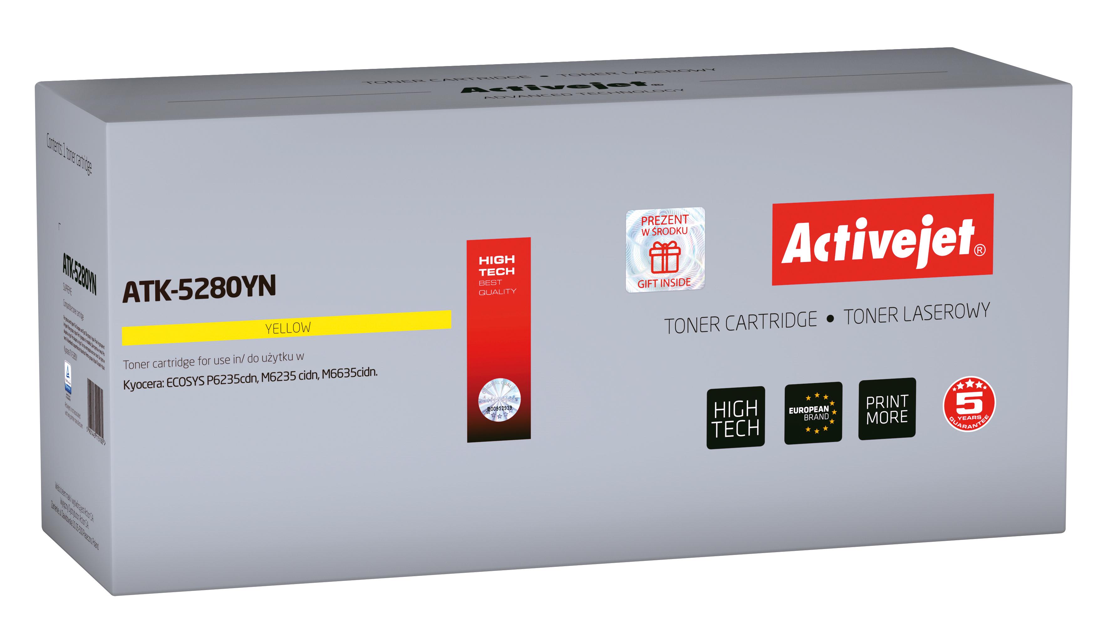 Toner Activejet  ATK-5280YN do drukarki Kyocera, Zamiennik Kyocera TK-5280Y; Supreme; 11000 stron; Żólty.