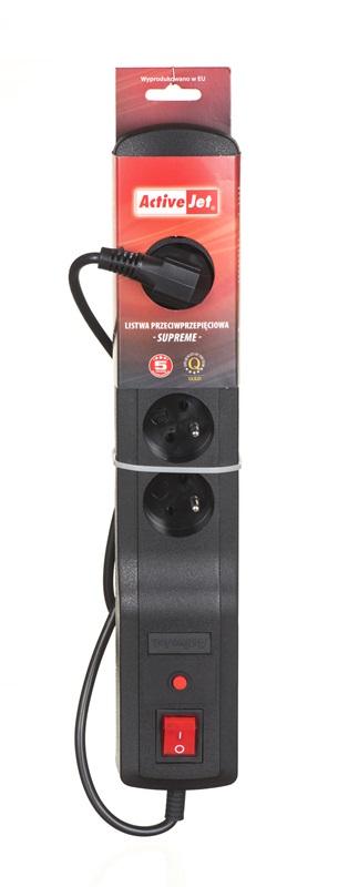 ActiveJet LISTWA ZASILAJĄCA PRZECIWPRZEPIĘCIOWA SUPREME-5CL-5B 5Gn (5 gniazd+ kolor czarny+ 5m+ bezpiecznik auto)