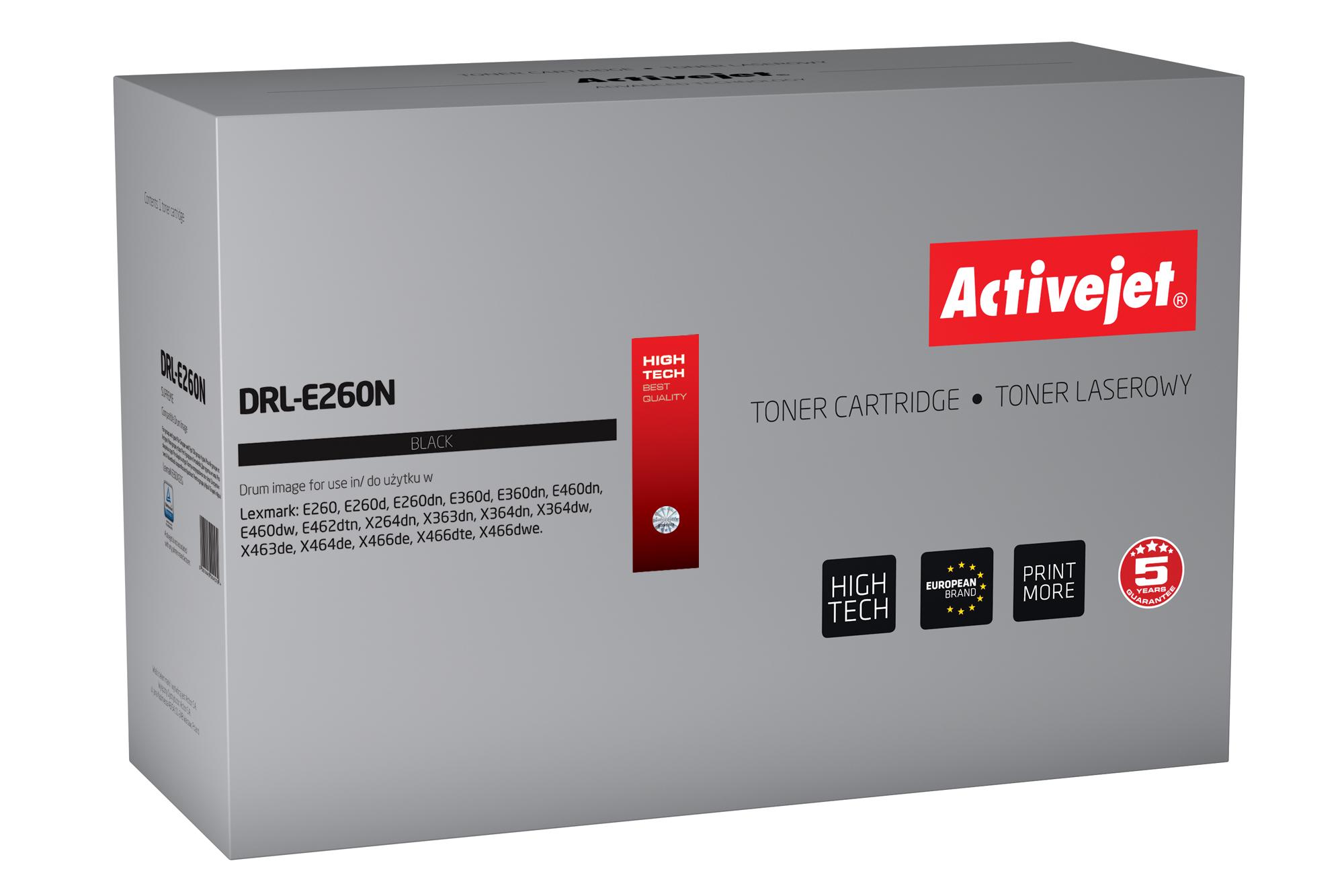 Bęben Activejet DRL-E260N do drukarki Lexmark, Zamiennik Lexmark E260X22G;  Supreme;  30 000 stron;  czarny.