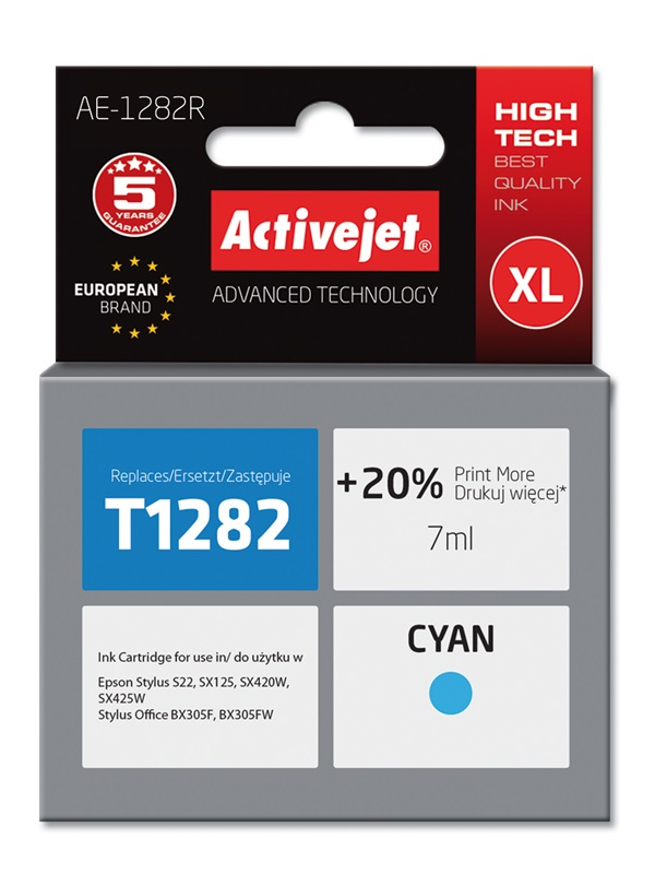 ActiveJet AE-1282R tusz cyan do drukarki Epson (zamiennik T1282)