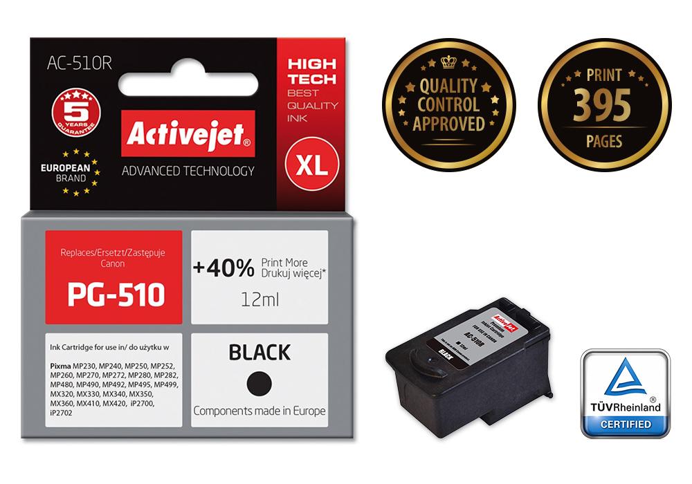 Tusz Activejet AC-510R do drukarki Canon, Zamiennik Canon PG-510;  Premium;  12 ml;  czarny. Drukuje więcej o 40%.