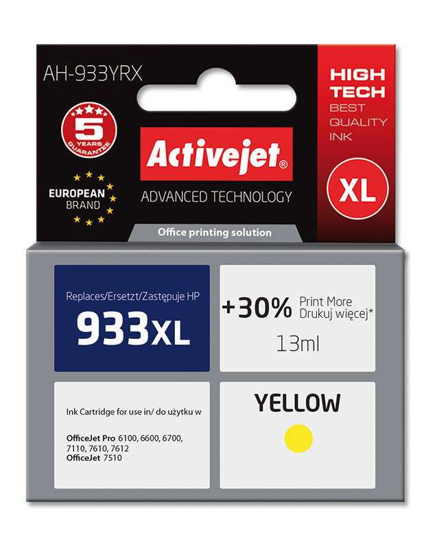 ActiveJet AH-933YRX tusz yellow do drukarki HP (zamiennik HP 933XL CN056AE)