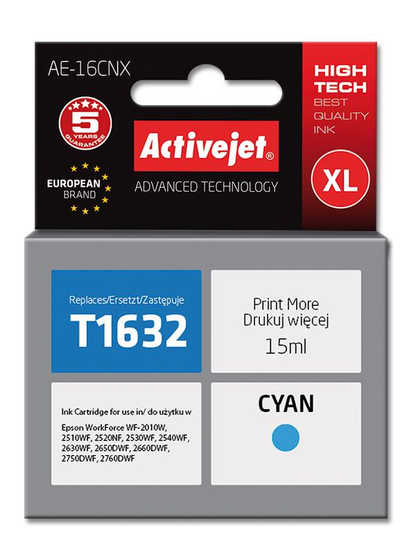 Tusz Activejet AE-16CNX do drukarki Epson, Zamiennik Epson 16XL T1632;  Supreme;  15 ml;  błękitny.