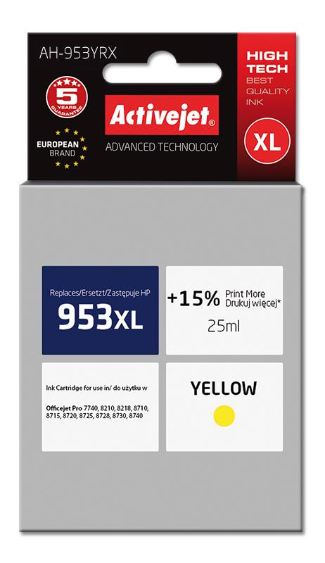 Tusz Activejet AH-953YRX do drukarki HP, Zamiennik HP 953XL F6U18AE;  Premium;  25 ml;  żółty. Drukuje więcej o 15%.