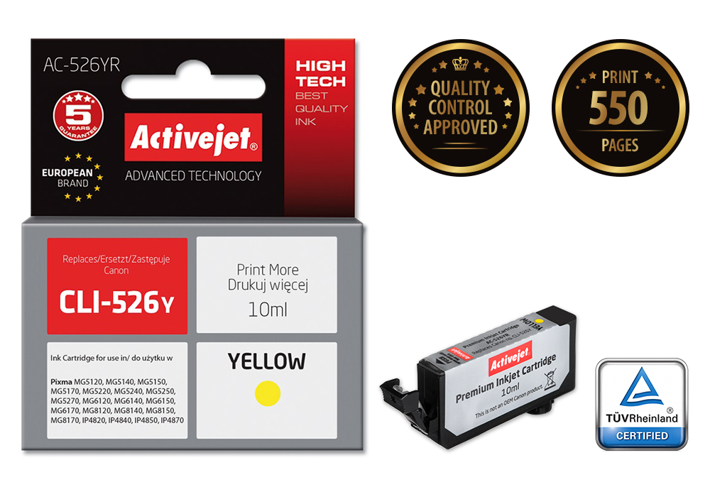 ActiveJet AC-526YR tusz yellow do drukarki Canon (zamiennik Canon CLI-526Y) (chip)