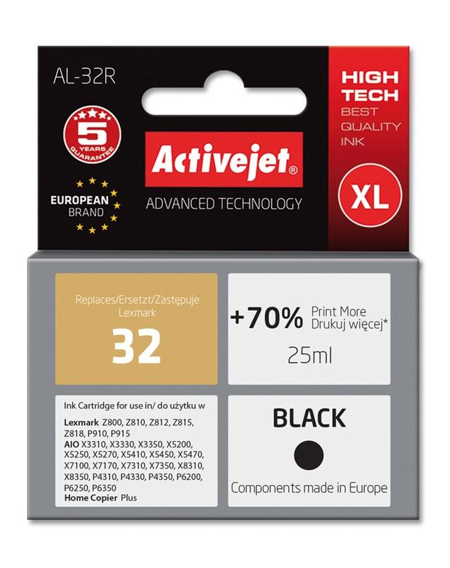 Tusz Activejet AL-32R do drukarki Lexmark, Zamiennik Lexmark 32 18C0032E;  Premium;  25 ml;  czarny. Drukuje więcej o 70%.
