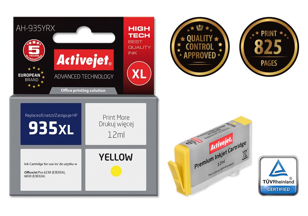 Tusz Activejet AH-935YRX do drukarki HP, Zamiennik HP 935XL C2P26AE;  Premium;  12 ml;  żółty.
