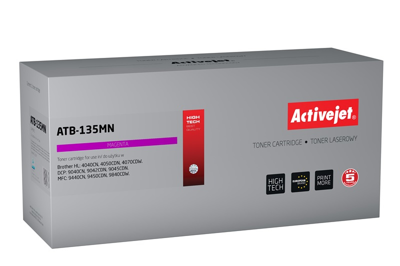 Toner Activejet ATB-135MN do drukarki Brother, Zamiennik Brother TN-135M/TN-130M;  Supreme;  4000 stron;  purpurowy.