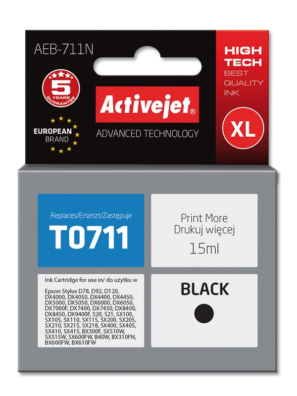 Tusz Activejet AEB-711N do drukarki Epson, Zamiennik Epson T0711, T0891, T1001;  Supreme;  15 ml;  czarny.