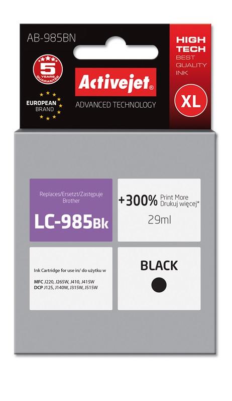 Tusz Activejet AB-985BN do drukarki Brother, Zamiennik Brother LC985BK;  Supreme;  29 ml;  czarny. Drukuje więcej o 300%.