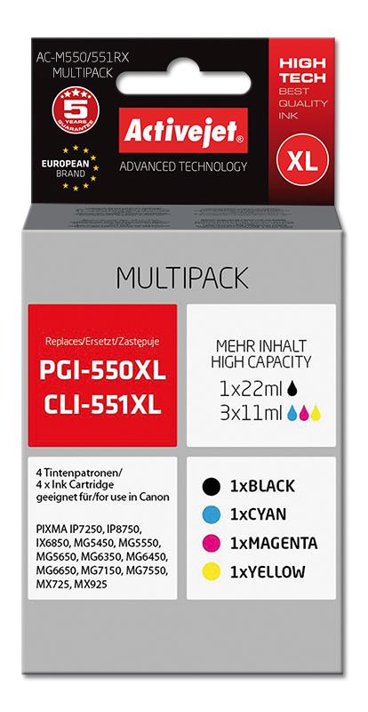 Tusz Activejet AC-M550/551RX do drukarki Canon, Zamiennik Canon PGI-550Bk XL, CLI-551C XL, CLI-551M XL, CLI-551Y XL; Premium;  1 x 22 ml, 3 x 11 ml;  czarny, purpurowy, błękitny, żółty.