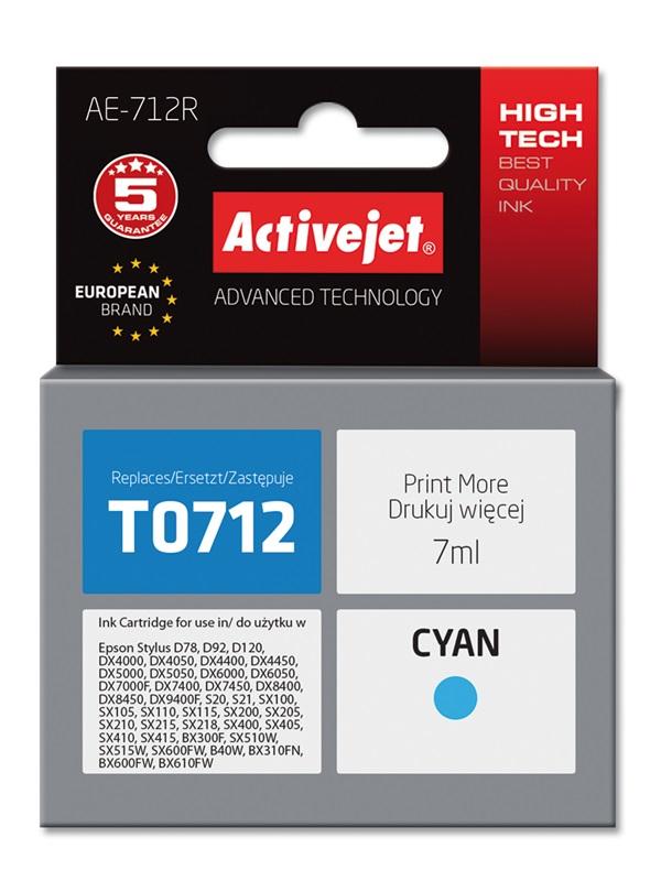 Tusz Activejet AE-712R do drukarki Epson, Zamiennik Epson T0712, T0892, T1002;  Premium;  7 ml;  błękitny.