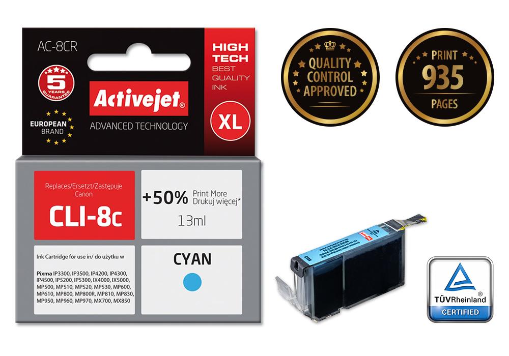 Tusz Activejet AC-8CR do drukarki Canon, Zamiennik Canon CLI-8C;  Premium;  13 ml;  błękitny. Drukuje więcej o 50%.