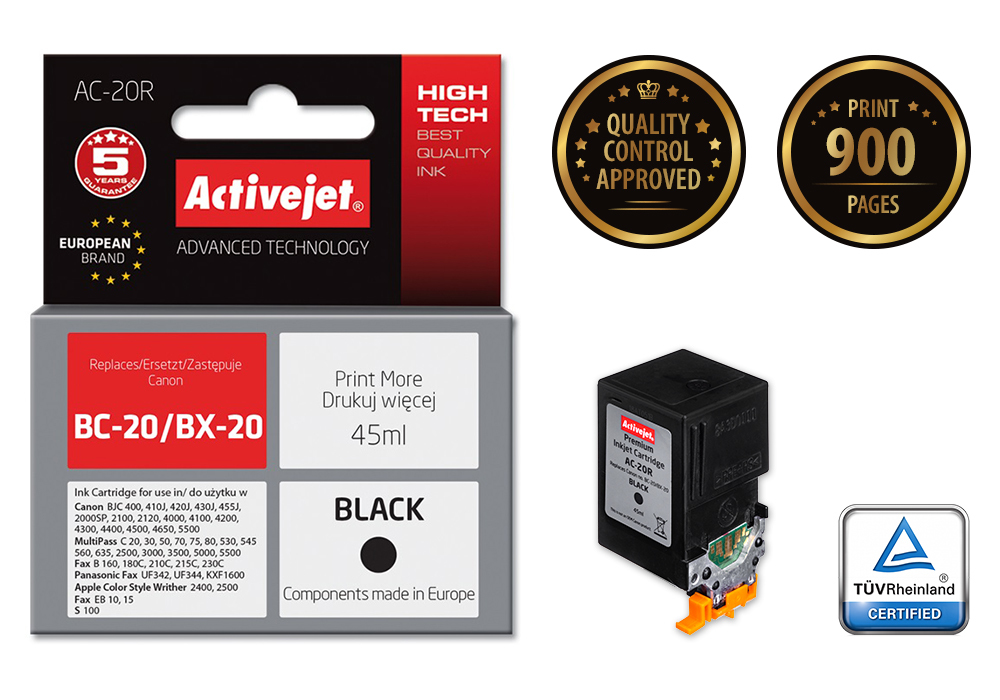 Tusz Activejet AC-20R do drukarki Canon, Zamiennik Canon BC-20/BX-20;  Premium;  45 ml;  czarny.