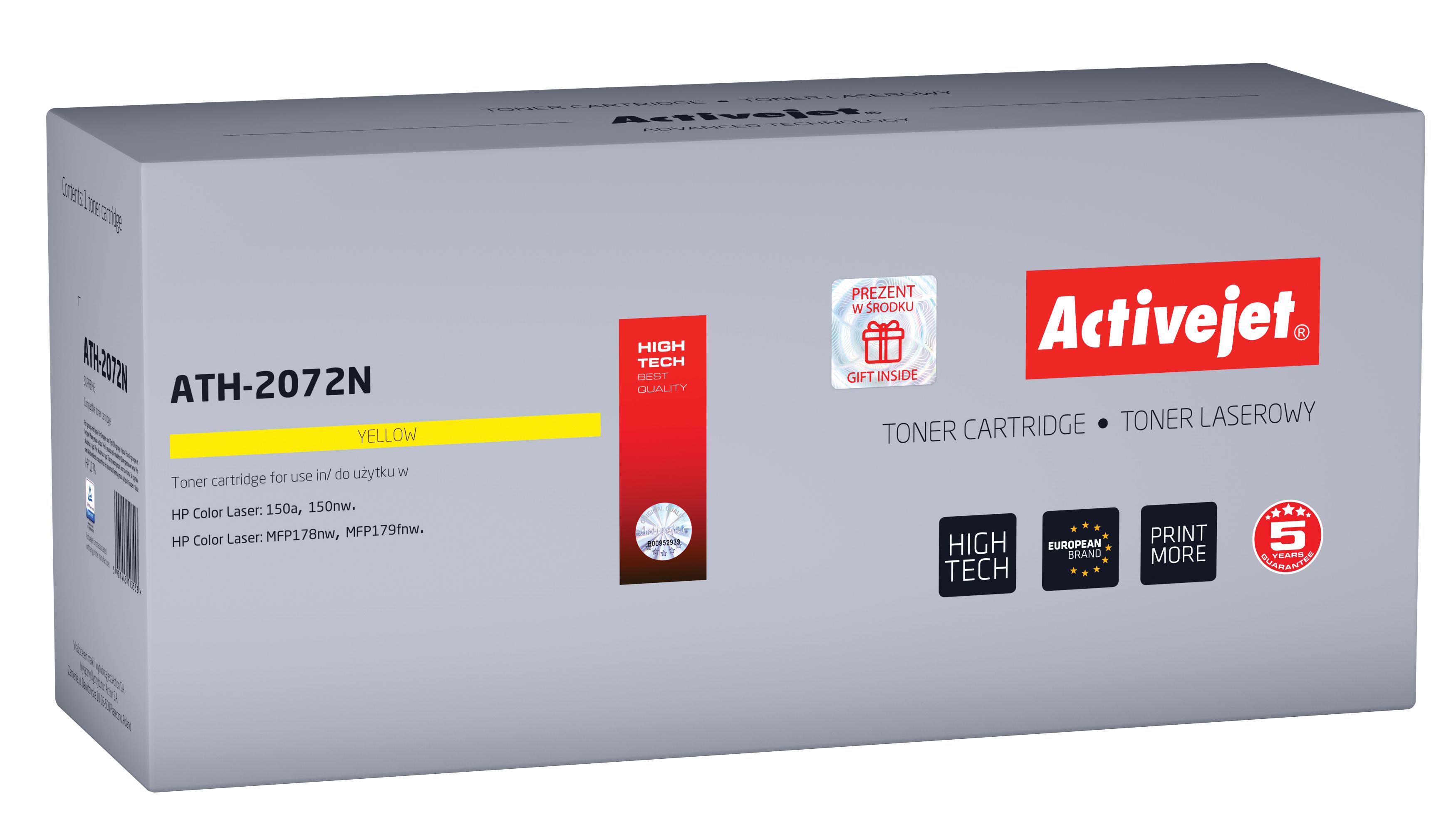 Toner Activejet ATH-2072N do drukarek HP, Zamiennik HP 117A 2072A; supreme; 700 stron; żółty.