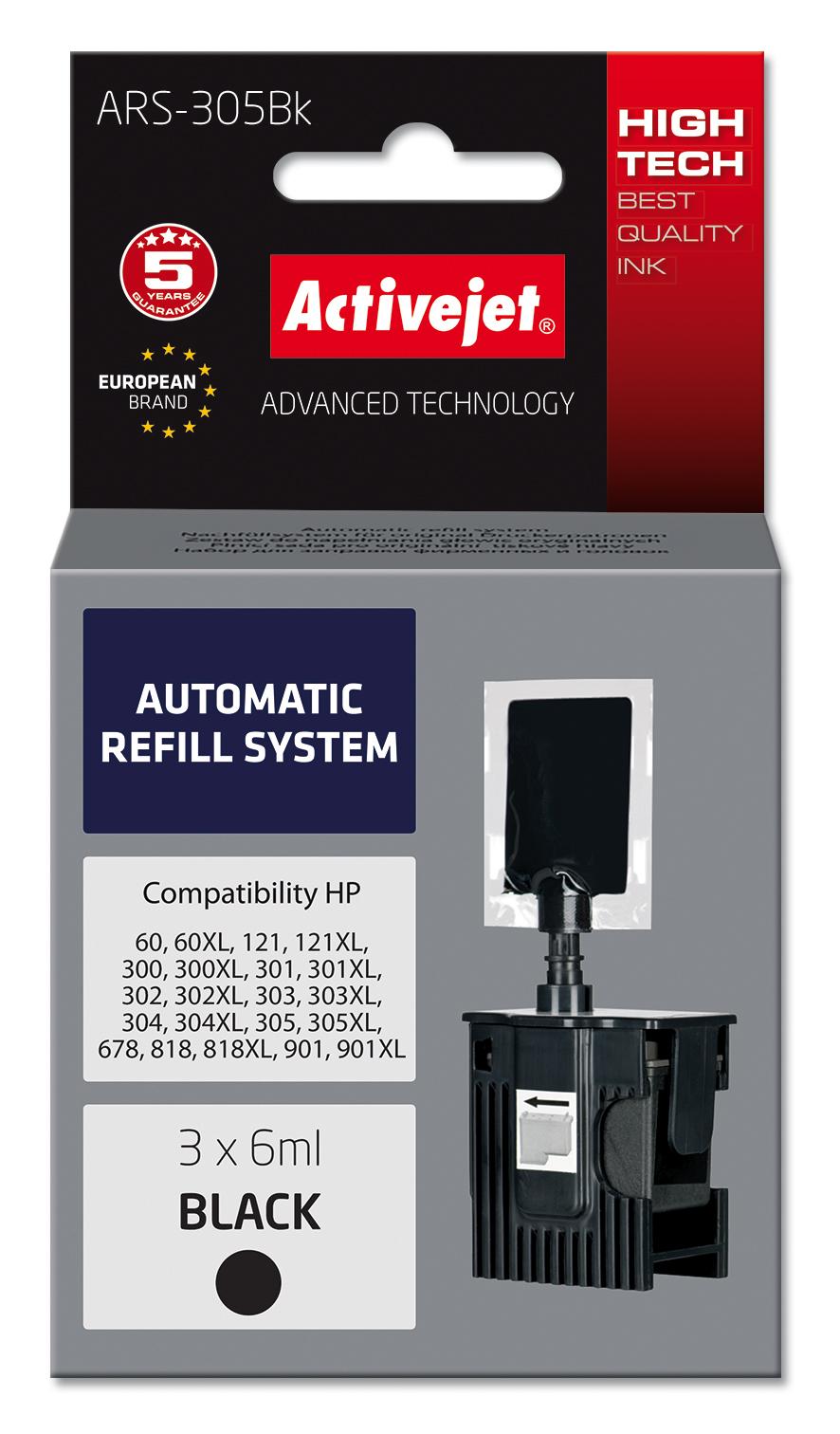 System uzupełnień Activejet ARS-305Bk (zamiennik HP301, HP302, HP303, HP304, HP304 ; 3 x 6 ml; czarny)