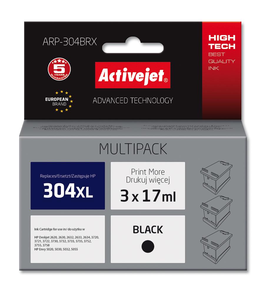 Multipack Activejet ARP-304BRX do drukarki HP, zamiennik 304XL N9K08AE; Supreme; 3szt.x17ml, czarny.