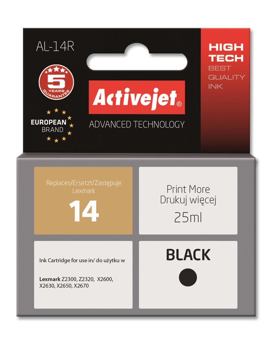 Tusz Activejet AL-14R (do drukarki Lexmark, zamiennik Lexmark 14 18C2090E premium 25ml czarny)
