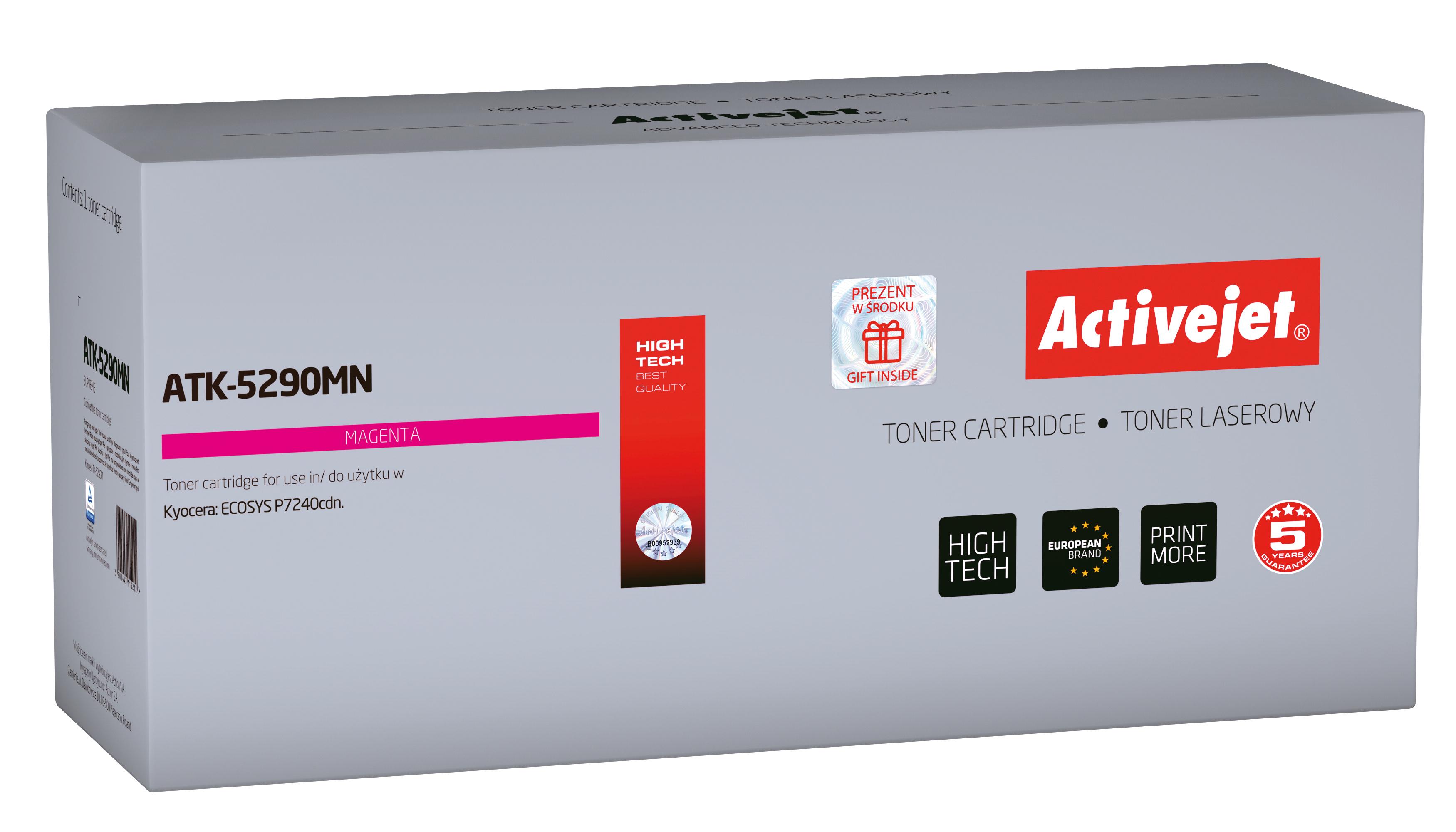Toner Activejet  ATK-5290MN do drukarki Kyocera, Zamiennik Kyocera TK-5290M; Supreme; 13000 stron; Purpurowy.