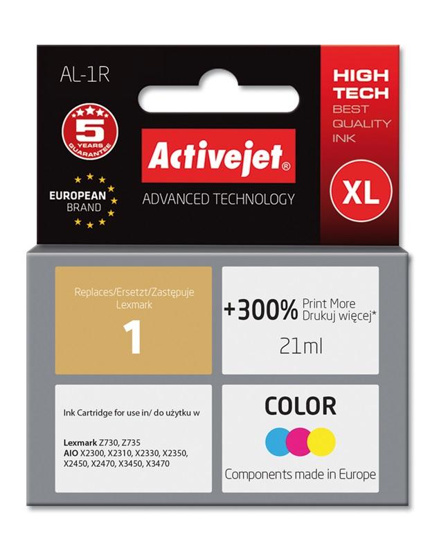 Tusz Activejet AL-1R do drukarki Lexmark, Zamiennik Lexmark 1 18C0781E;  Premium;  21 ml;  kolor. Drukuje więcej o 300%.