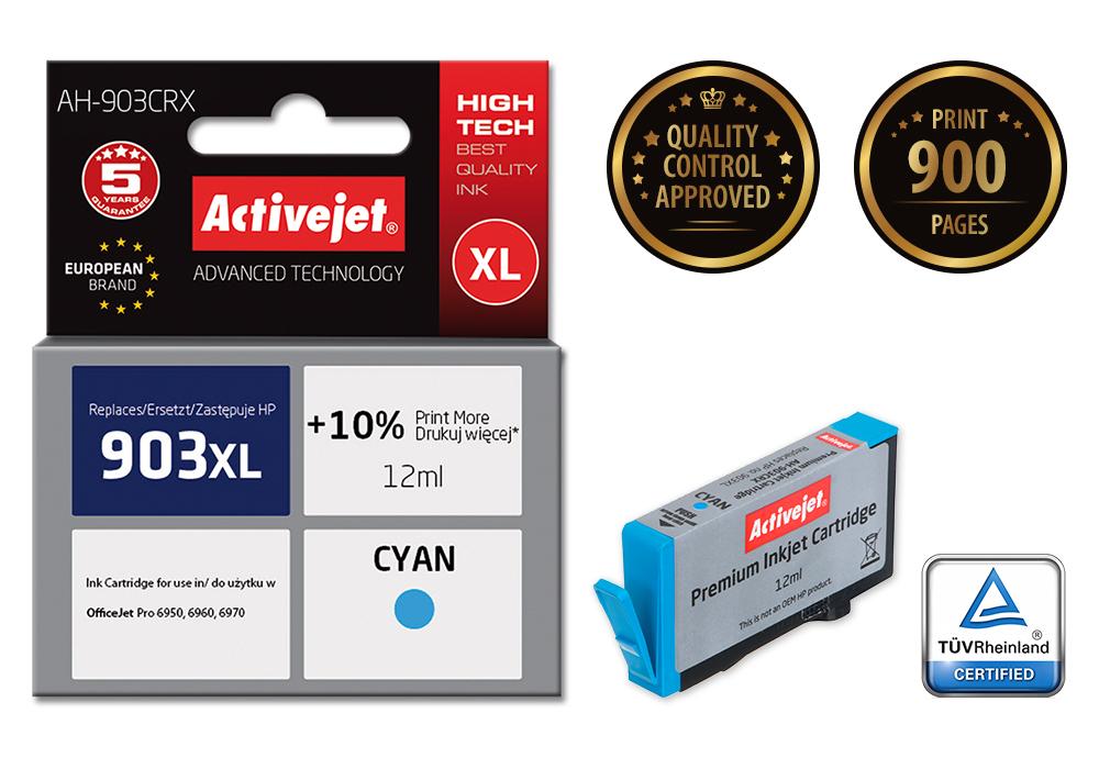 Tusz Activejet AH-903CRX do drukarki HP, Zamiennik HP 903XL T6M03AE;  Premium;  12 ml;  błękitny. Drukuje więcej o 10%.