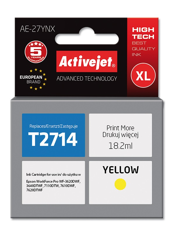 ActiveJet AE-27YNX tusz yellow do drukarki Epson (zamiennik Epson 27XL T2714) Supreme