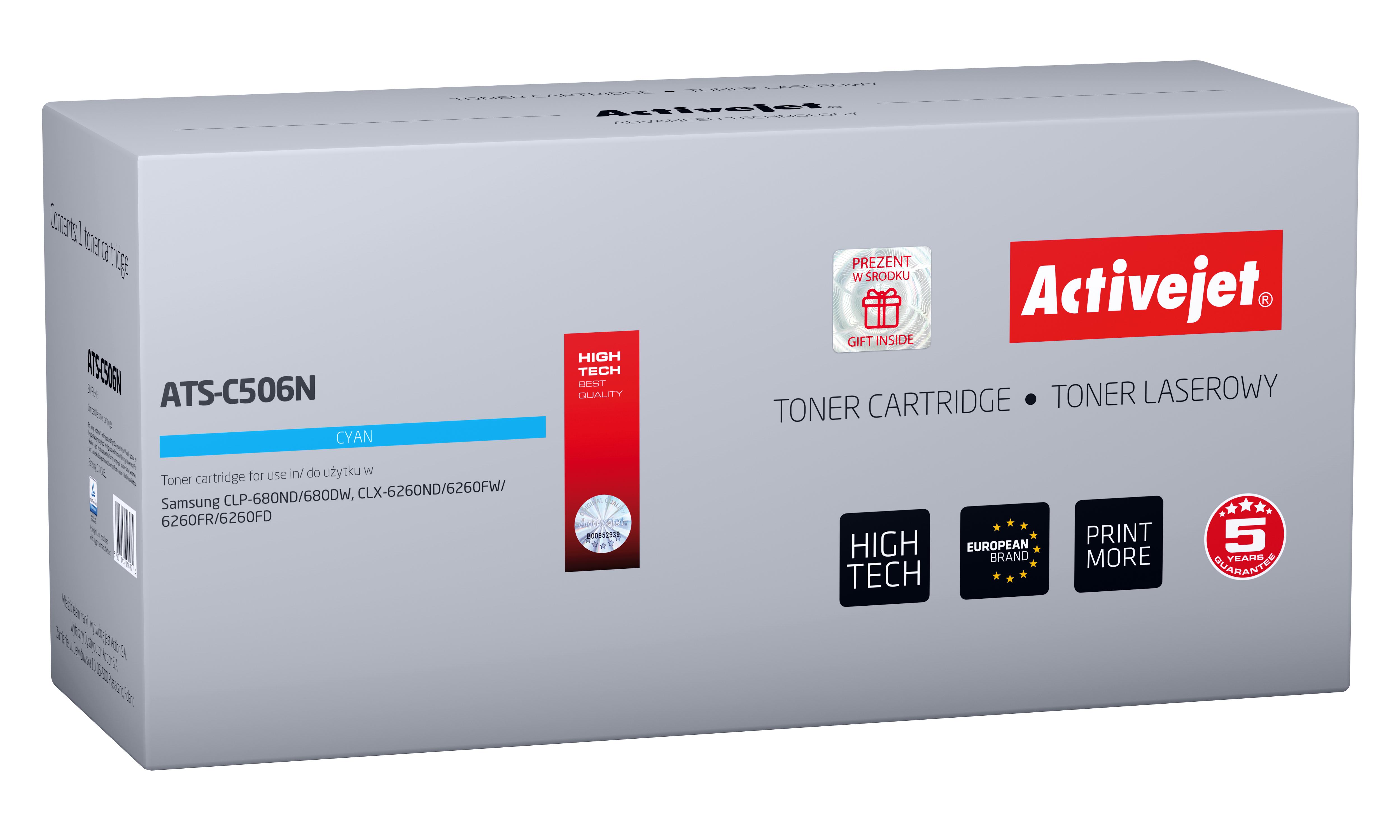 Toner Activejet ATS-C506N do drukarki Samsung; zamiennik CLT-C506L; Supreme; 3500 stron; niebieski.