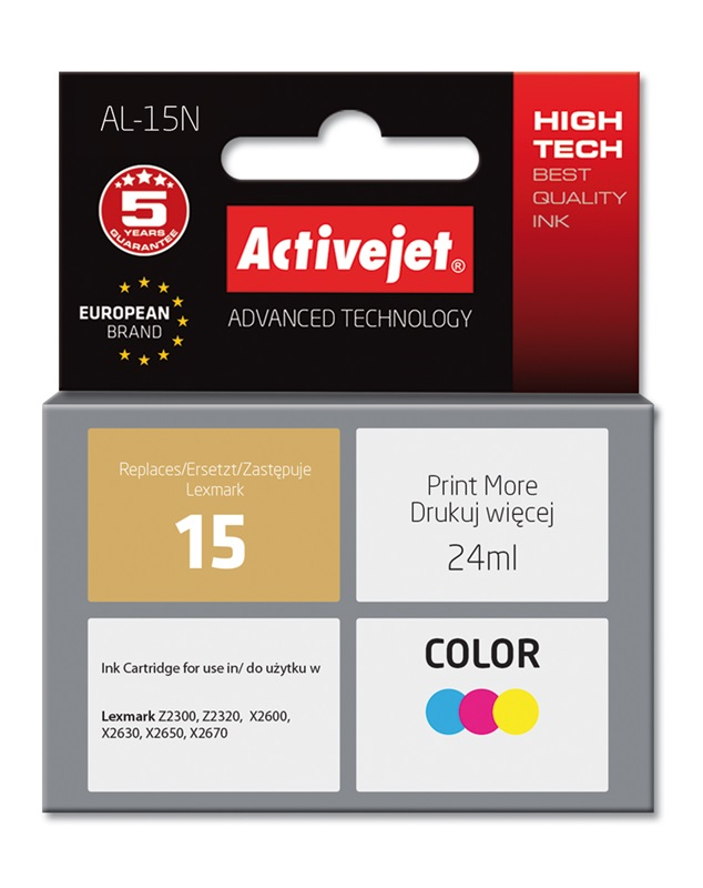 Tusz Activejet AL-15N do drukarki Lexmark, Zamiennik Lexmark 15 18C2110E;  Supreme;  24 ml;  kolor.