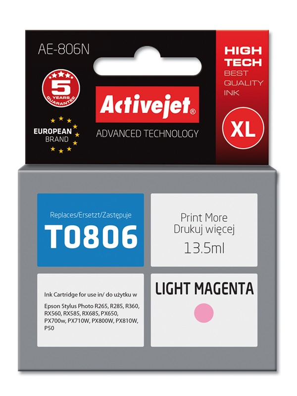 Tusz Activejet AE-806N do drukarki Epson, Zamiennik Epson T0806;  Supreme;  13.5 ml;  jasny purpurowy.