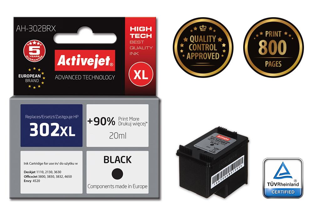 ActiveJet AH-302BRX tusz czarny do drukarki HP (zamiennik HP 302XL F6U68AE) Premium