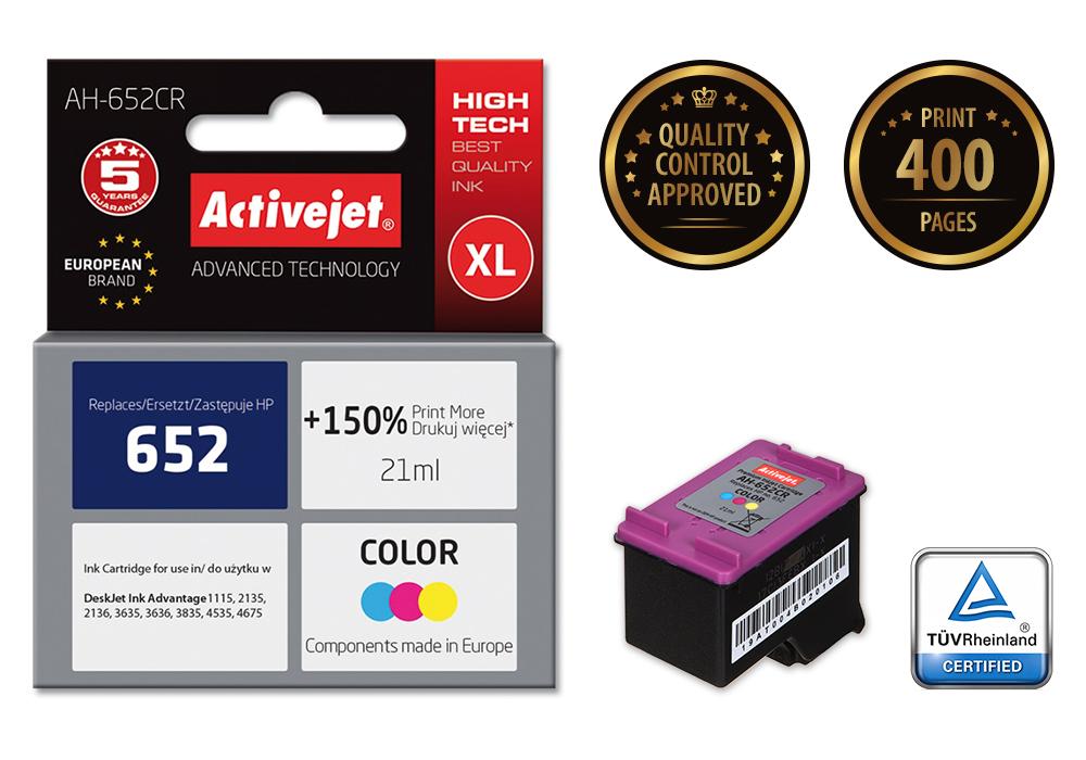 Tusz Activejet AH-652CR do drukarki HP, Zamiennik HP 652 F6V24AE;  Premium;  21 ml;  kolor. Drukuje więcej o 150%.