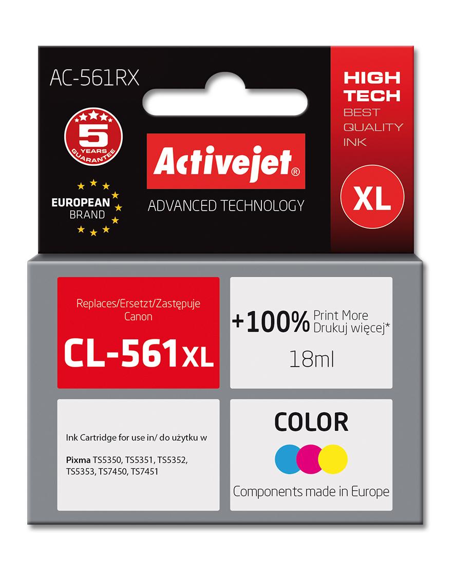 Tusz Activejet AC-561RX do drukarki Canon; Zamiennik CL-561XL; Premium; 18 ml; kolor