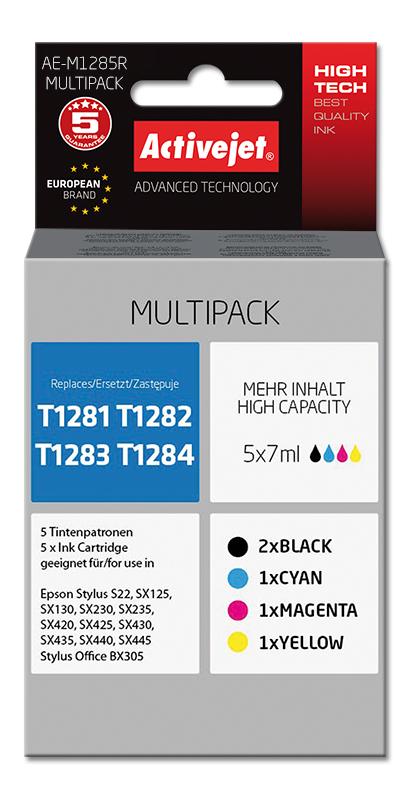 Tusz Activejet AE-M1285R (zamiennik Epson T1285+ Premium+ 5 x 7 ml.+ czarny, czerwony, niebieski, żółty)