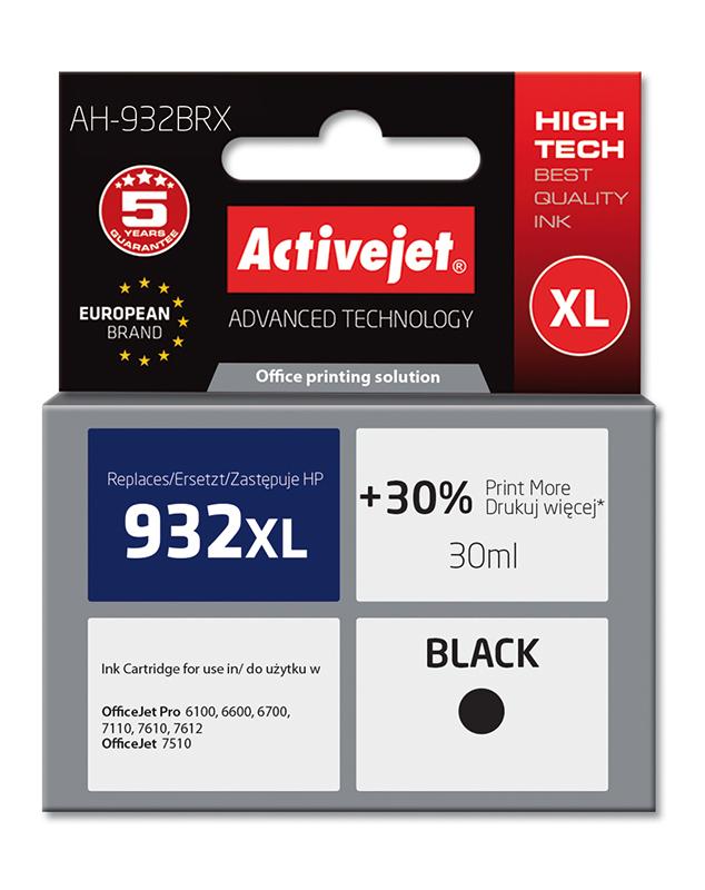 Tusz Activejet AH-932BRX do drukarki HP, Zamiennik HP 932XL CN053AE;  Premium;  30 ml;  czarny. Drukuje więcej o 30%.