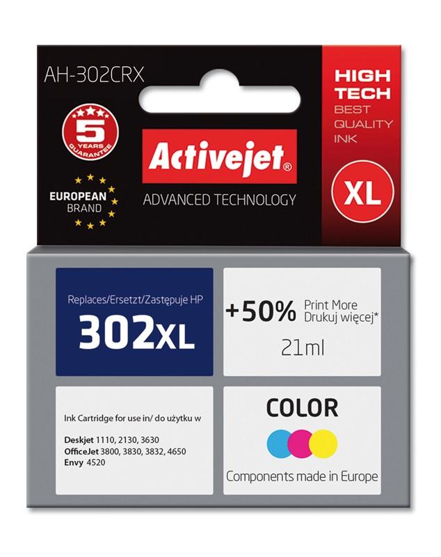 Tusz Activejet AH-302CRX do drukarki HP, Zamiennik HP 302XL F6U67AE;  Premium;  21 ml;  kolor. Drukuje więcej o 50%.