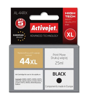 Tusz Activejet AL-44RX do drukarki Lexmark, Zamiennik Lexmark 44XL 18YX144E;  Premium;  25 ml;  czarny.