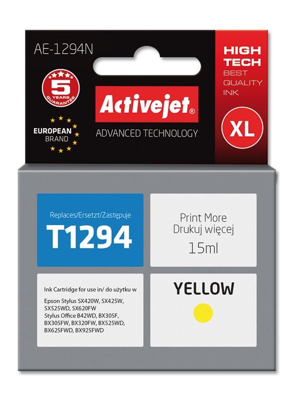 Tusz Activejet AE-1294N do drukarki Epson, Zamiennik Epson T1294;  Supreme;  15 ml;  żółty.