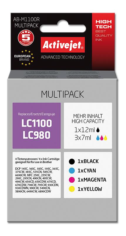 Tusz Activejet AB-M1100R (zamiennik Brother LC1100/980+ Premium+ 1 x 12 ml, 3 x 7 ml+ czarny, czerwony, niebieski, żółty)